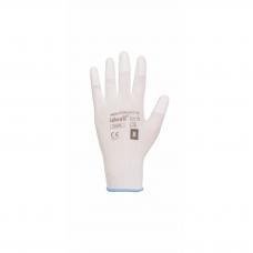 Darbines pirštines aplietos poliuretanu baltos (pirštu galiukai)