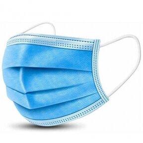 Vienkartinės medicininės veido kaukes, mėlynos spalvos, 50 vnt