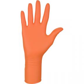 Перчатки нитриловые одноразовые толстые, оранжевые, 100 шт.